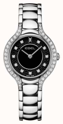 EBEL Béluga féminin | bracelet en acier inoxydable | cadran noir | serti de diamants 1216466