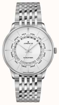 Junghans Verre saphir Meister worldtimer | bracelet en acier inoxydable | cadran argenté 027/3011.46