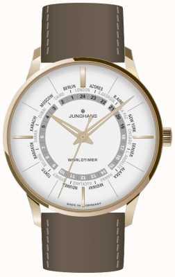 Junghans Verre saphir Meister worldtimer | bracelet en cuir marron | cadran argenté 027/5012.02