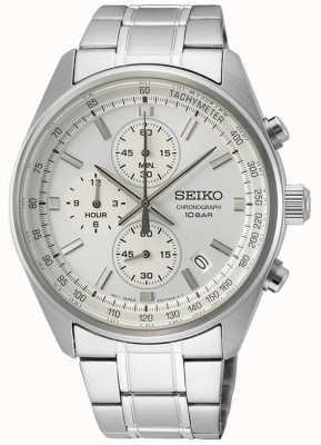 Seiko Bracelet homme en acier inoxydable | cadran de chronographe blanc SSB375P1