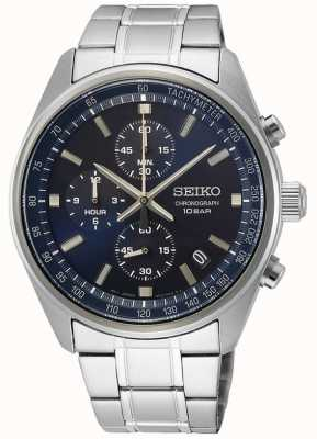 Seiko Bracelet homme en acier inoxydable | cadran de chronographe bleu SSB377P1