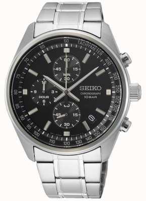 Seiko Bracelet homme en acier inoxydable | cadran de chronographe noir SSB379P1