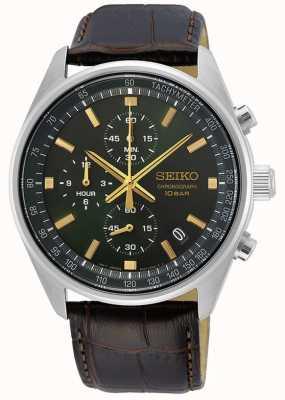 Seiko Bracelet en cuir marron pour homme | cadran vert SSB385P1