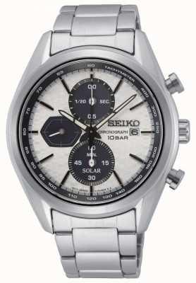 Seiko Solaire pour hommes | bracelet en acier inoxydable | cadran de chronographe en argent SSC769P1