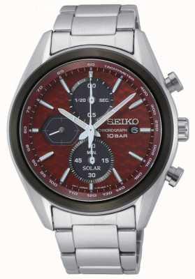 Seiko Solaire pour hommes | bracelet en acier inoxydable | cadran de chronographe rouge SSC771P1