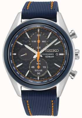 Seiko Solaire pour hommes | bracelet en silicone bleu | cadran de chronographe bleu SSC775P1