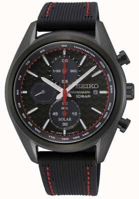 Seiko Solaire pour hommes | bracelet en silicone noir | cadran de chronographe noir SSC777P1