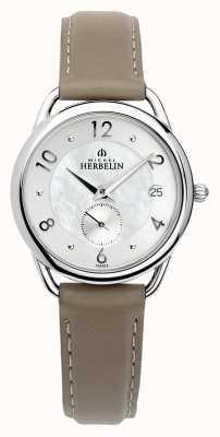 Michel Herbelin Equinoxe | bracelet en cuir marron pour femme | nacre 18397/29GR
