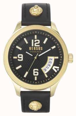 Versus Versace | hommes | reale | bracelet en cuir noir | cadran noir | VSPVT0220