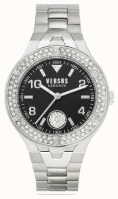 Versus Versace Vittoria pour femmes | bracelet en acier inoxydable | cadran noir VSPVO0520