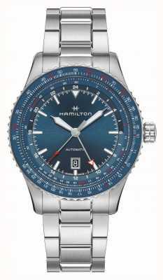 Hamilton Convertisseur aviation kaki auto gmt | bracelet en acier inoxydable H76715140