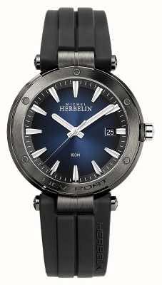 Michel Herbelin Newport pour hommes   bracelet en caoutchouc noir   cadran bleu 12288/G15CA