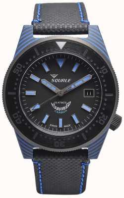 Squale Style carbone | cadran noir / bleu | bracelet en microfibre noir - coutures bleues T183BL-CINT183BL