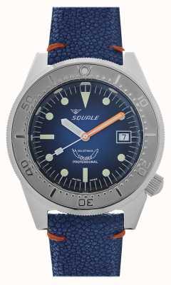 Squale 1521 rayon bleu | cadran bleu | bracelet en cuir bleu 1521PROFSS-CIN20RZBL
