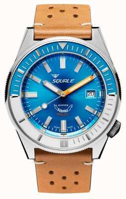 Squale Matic xse | cadran bleu acier | bracelet en cuir camel MATICXSE00-CINU1565CM