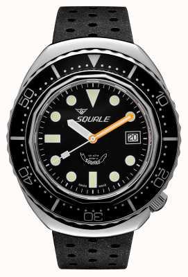 Squale 2002a points ronds noirs | bracelet tropique noir | cadran noir B083401-CINTRB22