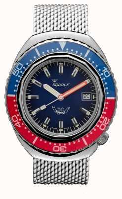 Squale 2002a bleu-rouge | bracelet en maille d'acier | cadran bleu B083401-CINSS22