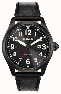 Citizen Économie militaire de la garnison des hommes | bracelet en cuir noir BM6835-15E