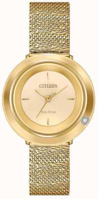 Citizen Ambiluna pour femmes | bracelet en maille dorée | cadran champagne EM0642-52P