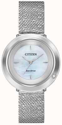 Citizen Ambiluna pour femmes | bracelet en maille d'acier | cadran en nacre EM0640-58D