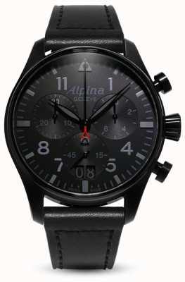 Alpina Chrono pilote de démarrage | bracelet en cuir noir AL-372BB4FBS6