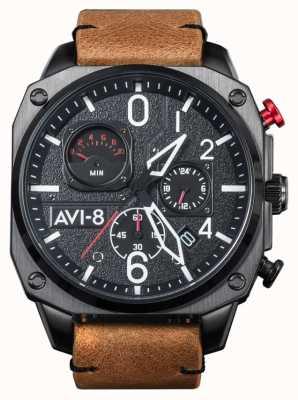 AVI-8 Hawker hunter | chronographe | bracelet en cuir marron AV-4052-02
