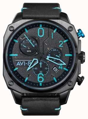 AVI-8 Hawker hunter | chronographe | bracelet en cuir noir AV-4052-05