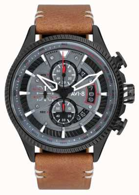 AVI-8 Hawker hunter | chronographe | cadran gris | bracelet en cuir marron AV-4064-03