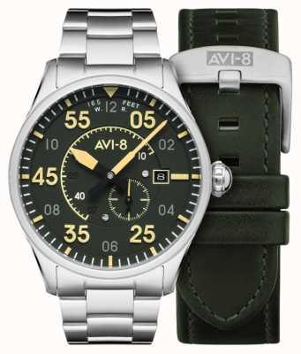 AVI-8 Spitfire | automatique | bracelet en acier inoxydable à cadran vert | bracelet en cuir supplémentaire AV-4073-22
