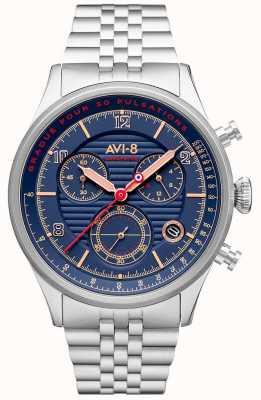 AVI-8 Flyboy lafayette | chronographe | cadran bleu | bracelet en acier inoxydable AV-4076-22