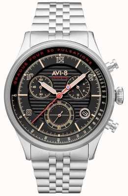 AVI-8 Flyboy lafayette | chronographe | cadran noir | bracelet en acier inoxydable AV-4076-33