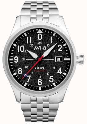 AVI-8 Flyboy | automatique | cadran noir | bracelet en acier inoxydable AV-4075-11