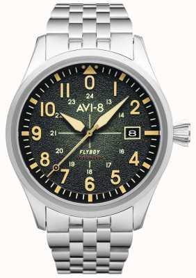 AVI-8 Flyboy | automatique | cadran vert | bracelet en acier inoxydable AV-4075-33