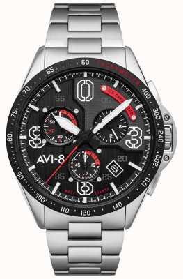 AVI-8 P-51 mustang | chronographe | cadran noir | bracelet en acier inoxydable AV-4077-11