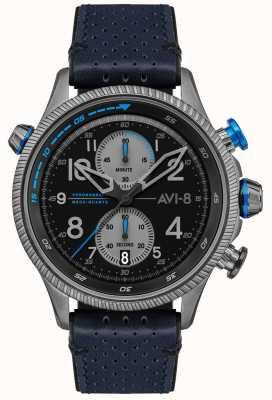 AVI-8 Hawker hunter | chronographe | cadran noir | bracelet en cuir bleu AV-4080-02