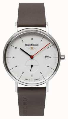 Bauhaus Bracelet italien en cuir marron pour homme | cadran blanc 2130-1