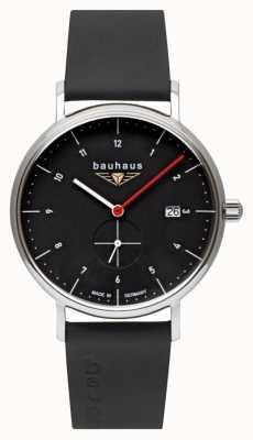 Bauhaus Bracelet en cuir italien noir pour homme | cadran noir 2130-2