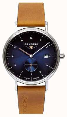 Bauhaus Bracelet en cuir italien marron pour homme | cadran bleu 2130-3