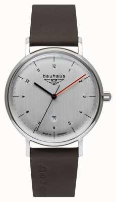Bauhaus Bracelet en cuir italien marron pour homme | cadran argenté 2140-1