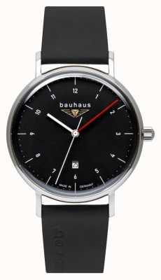 Bauhaus Bracelet en cuir italien noir pour homme | cadran noir 2140-2