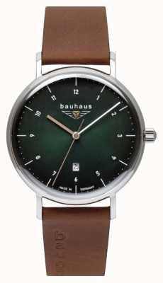 Bauhaus Bracelet en cuir italien marron pour homme | cadran vert 2140-4