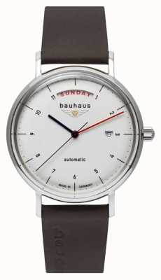 Bauhaus Bracelet en cuir italien marron pour homme | cadran blanc | automatique | jour / date 2162-1