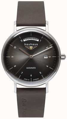 Bauhaus Bracelet en cuir italien noir pour homme | cadran noir | automatique | jour / date 2162-2