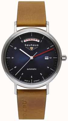 Bauhaus Bracelet en cuir italien marron pour homme | cadran bleu | automatique | jour / date 2162-3