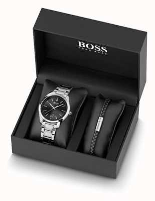 BOSS Montre homme en acier inoxydable et bracelet en cuir noir 1570084