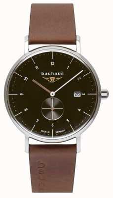 Bauhaus Bracelet en cuir italien marron pour homme | cadran noir 2132-2