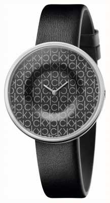 Calvin Klein | femmes | manie | bracelet en cuir noir | cadran noir motif ck | KAG231CX