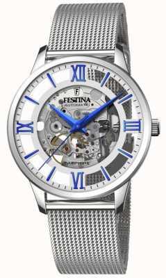 Festina Squelette automatique pour hommes | bracelet en maille d'acier | cadran argenté / bleu F20534/1