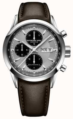Raymond Weil Indépendant des hommes | bracelet en cuir marron | cadran argenté 7732-STC-65201