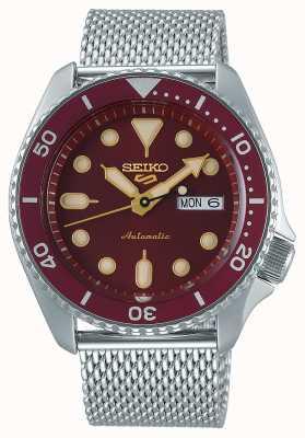 Seiko 5 sport | hommes | bracelet en maille d'acier | cadran rouge | automatique | SRPD69K1